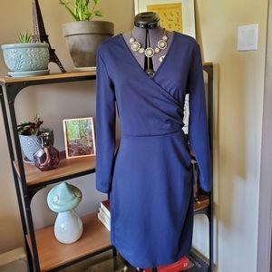 Y by Yumi Navy Faux Wrap Dress